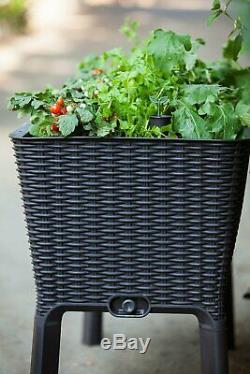 Keter large garden planter raised box elevated flower Bed pot square trough