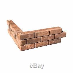 Landecor Outdoor Homes 4-Pieces Square Tumbled Brick Raised Planter Garden Bed