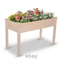 Large Raised Garden Bed Elevated Wood Planter Box Flower Vegetable Stand Outdoor