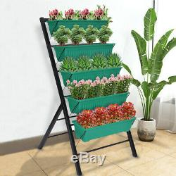 Metal Raised Garden Bed Elevated Planter Shelf with Boxes Outdoor Herb FlowerKit