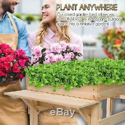 Movable 24x48x30 Cedar Wood Raised Garden Bed Kit w Rollers + 2 Foldable Shelves