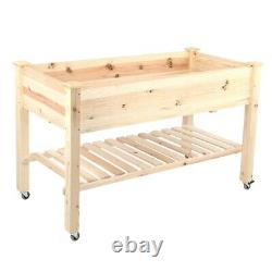 Moveable Patio Raised Garden Bed Outdoor Elevated Planter Box Stand Yard