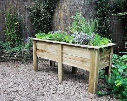 NEW Raised Height Planter Garden Deep Large Wooden Vegetables Raised Flower Bed