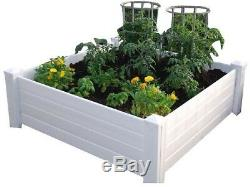 NuVue Raised Garden Bed Box Snap Lock System Elevated Vinyl Square White Finish