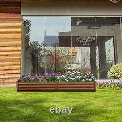 Outdoor Ft Metal Raised Garden Bed Patio Large Frame Planters Box for 8x2 Brown
