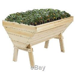 Outdoor Garden Bed Raised Vegetable Planter Flower Kit Box Elevated Solid Wood