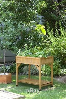 Outdoor Homes 31x31-Inch Cedar Wood Vegetable Herb Elevated Garden Plant Box Bed