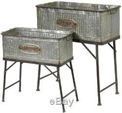 Outdoor Plant Stand Galvanized Metal Oversized 28.9 in. X 30.9 in. Set of 2