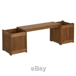 Outdoor Solid Wood Planter Boxes With Bench Elevated Raised Garden Beds Backyard