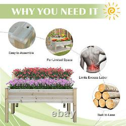 Outsunny 2-Level Raised Garden Bed Elevated Wood Planter Box with Drainage Holes