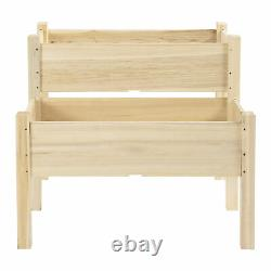 Outsunny 2-Piece Solid Fir Wood Plant Raised Bed Garden Step Planter Stand