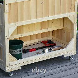 Outsunny 3-Tiers Wooden Raised Garden Bed with Wheels, Trellis, Back Storage Area