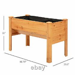 Outsunny 4' x 2' x 3' Raised Garden Bed Plant Box with Natural Fir Wood