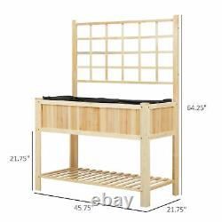 Outsunny 47 x 23 x 35 Wooden Raised Garden Planter Bed with Rear Grid Wall