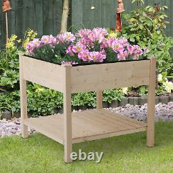 Outsunny Elevated Garden Planting Bed Stand Outdoor Flower Box with Storage Shelf