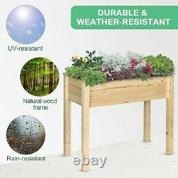 Outsunny Elevated Natural Garden Plant Stand Outdoor Flower Bed Box Wooden