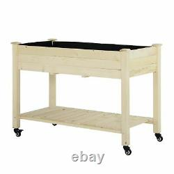 Outsunny Raised Garden Bed Mobile Elevated Wood Planter Box with Lockable Wheels