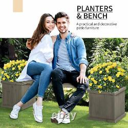 Outsunny Wooden Garden Planter &Bench Combination Raised Bed For Patio Park Grey