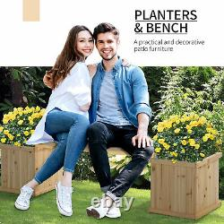 Outsunny Wooden Garden Planter &Bench Combination Raised Bed Natural Wood Color