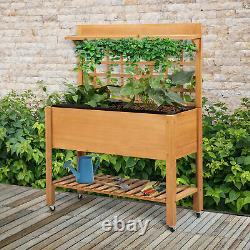 Outsunny Wooden Planter Raised Elevated Garden Bed with Shelf and Wheels