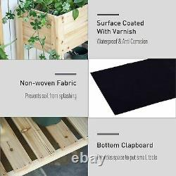 Outsunny Wooden Raised Garden Bed Plant Stand withClapboard 100 x 40 x 84cm