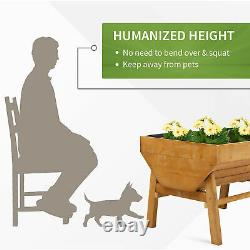 Outsunny Wooden Raised Garden Bed Planter with Non-Woven Fabric, Natural