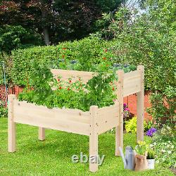 Patiojoy 2 Tier Wooden Raised Garden Bed Elevated Planter Box withLegs Drain Holes