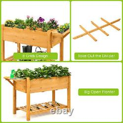 Patiojoy Raised Garden Bed Elevated Planter Box Kit with8 Grids & Folding Tabletop