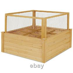 Patiojoy Raised Garden Bed Wooden Garden Box with 9 Grids & Critter Guard Fence