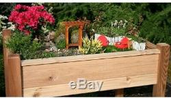 Plant Elevated Garden Bed 45 in. X 32 in. Weather Resistant Wood Natural Cedar
