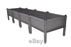 Plastic Assemble Garden Planter Raised Elevated Bed Herbs Flowers 4Pack Brown