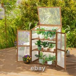 Portable Wooden Garden Greenhouse Indoor Outdoor Cold Frame Raised Planter Bed
