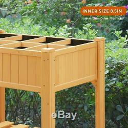 Quictent 35.4x 23.6x 35.4in 8 Grids Cedar Raised Garden Bed Wooden Planter Box