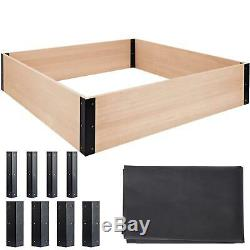 Quictent 48x48x11in Extra-Thick Cedar Raised Garden Bed Wooden Elevated Planter