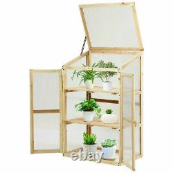 Raised Elevated Garden Bed Protection Wooden Greenhouse 2 Doors Foldable Top NEW