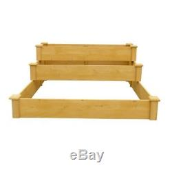 Raised Garden Bed 48 x 21 Inch. Medium Brown Solid Wood 3-Tier Planting Bed