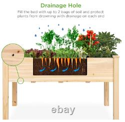 Raised Garden Bed 48x24x30-inch Wood Planter Box Flower Vegetable Grow Plant