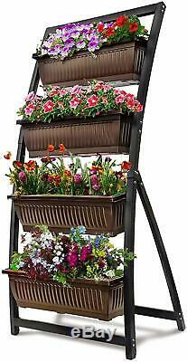 Raised Garden Bed 6Ft Vertical Freestanding Elevated Planter Cascading Drainage