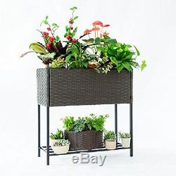 Raised Garden Bed Elevated Planter Vegetable Flower Outdoor Home Patio Woven Box