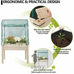 Raised Garden Bed Outdoor Wooden Planter Box with Greenhouse Cover for