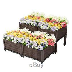 Raised Garden Bed Planters Kit Brown Set of 2 or 4 Self Watering Pots Stands