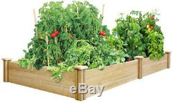 Raised Garden Bed Plants Wood Expandable Rectangle Divided Frame Board Natural