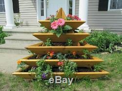 Raised Garden Bed Vegetable Flowers Herbs 5 Levels Red Cedar Pyramid Boxes Kit