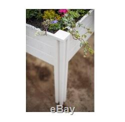 Raised Garden Bed White Vinyl Sunseeker Outdoor Durable Compact Rectangle Home