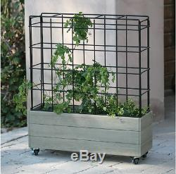 Raised Garden Bed With Trellis Rolling Wheels For Portable Vegetable