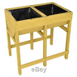 Raised Garden Bed Wooden Planter Box Flowers Veggies Herbs Plant Grow with Liner