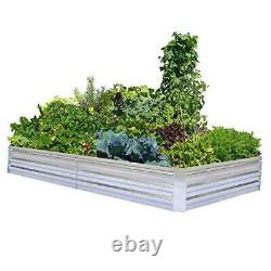 Raised Garden Beds for Vegetables Large Metal Planter Box 8x4x1ft Galvanized