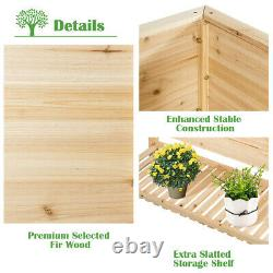 Raised Garden Planter Bed Box Stand Elevated Wood Planter withShelf Outdoor
