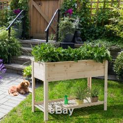 Raised Garden Planter Bed Box Stand Wood Elevated Planter 48x22x35.5 Natural