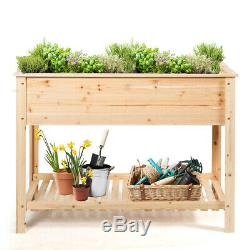 Raised Garden Planter Bed Box Stand Wood Elevated Planter withShelf 48x22x35.5